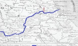 Εικ. 13 Τα ΕλληνοΤουρκικά σύνορα του 1881, όπως διαμορφώθηκαν με βάση την συνθήκη του Βερολίνου το 1878.